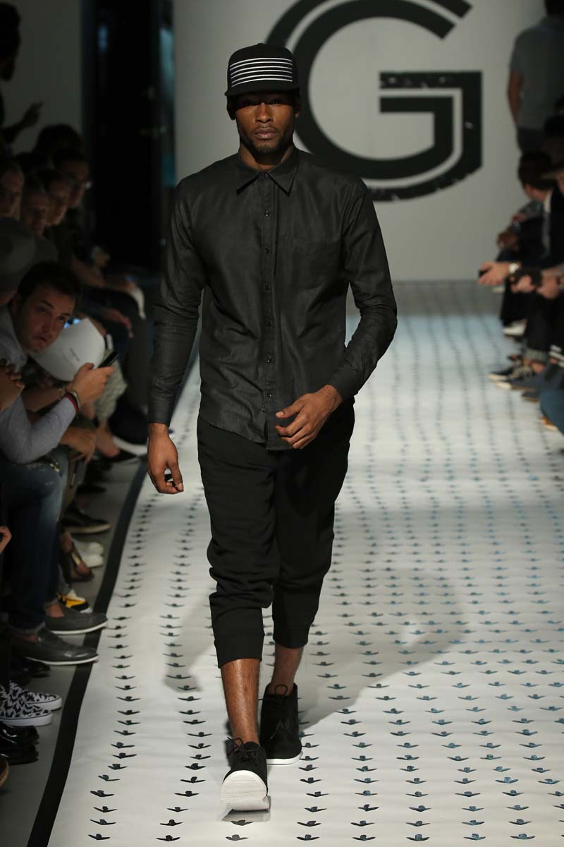 NEW YORK, NY - JULY 15: A model walks the runway wearing Grungy Gentleman during New York Fashion Week: Men's S/S 2016 at The Supermarket on July 15, 2015 in New York City. (Photo by Neilson Barnard/Getty Images)