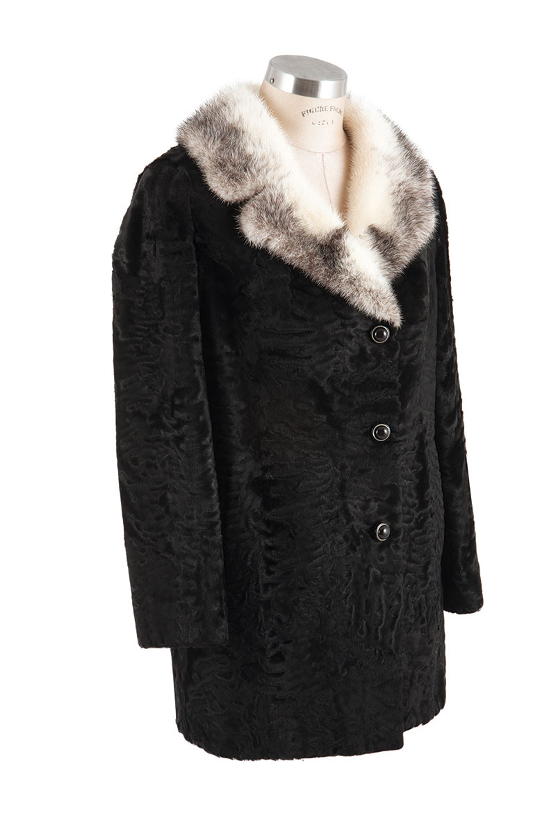 Black Swakara coat with Creme and grey mink collar.
