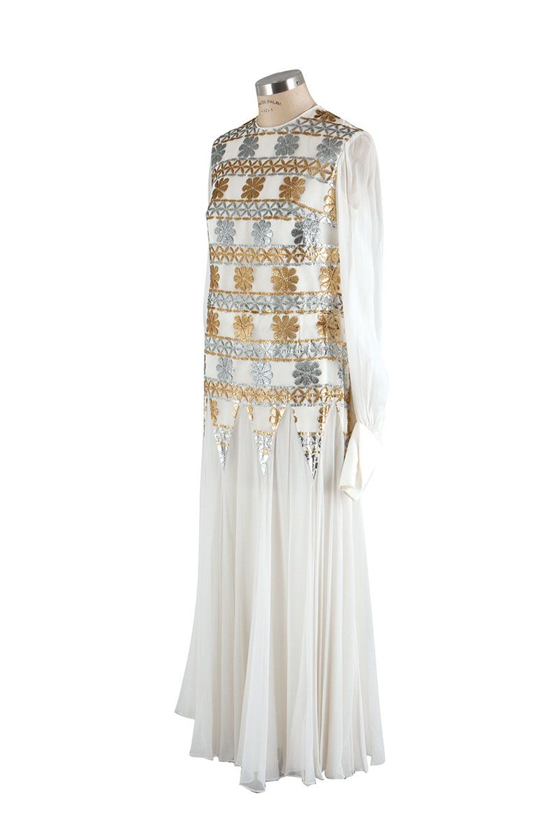 Silk Chiffon white evening gown.