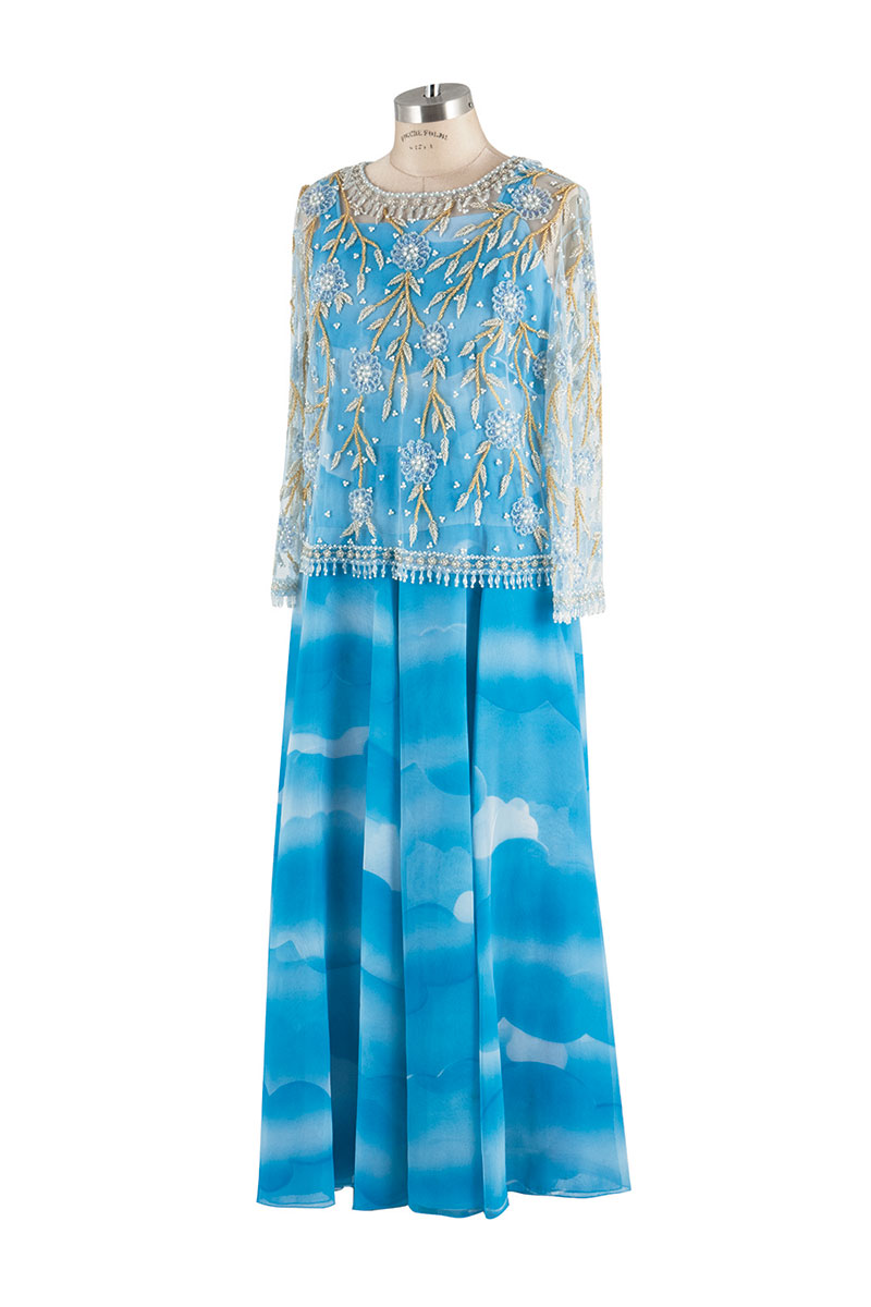 Blue beaded evening gown.