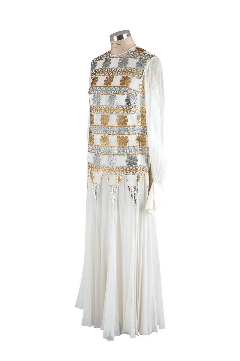 Silk Chiffon white evening gown.