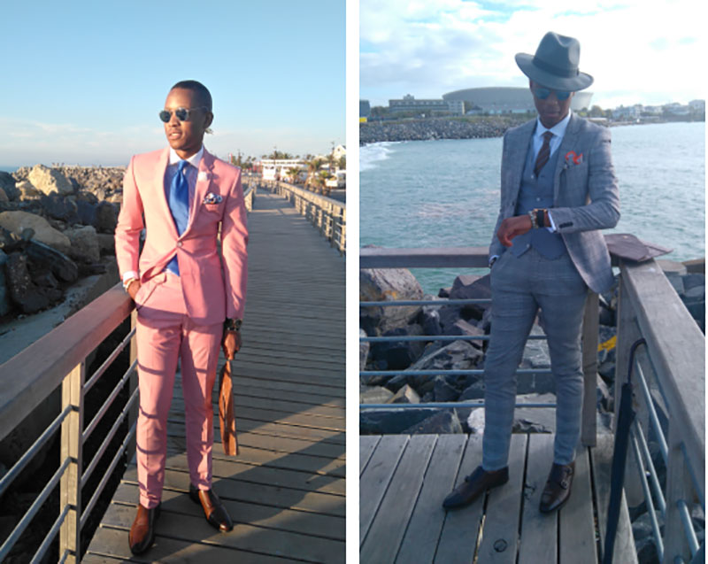 The Suitableman in a pink, ready-to-wear altered suit and in a grey Topman two-piece suit.